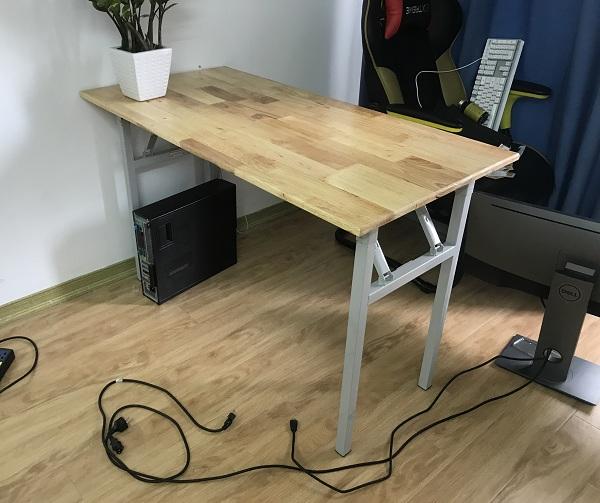 bàn gấp chân sắt mặt gỗ