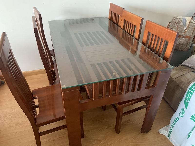 bộ bàn ăn 6 ghế 1 bàn gỗ sồi Mỹ