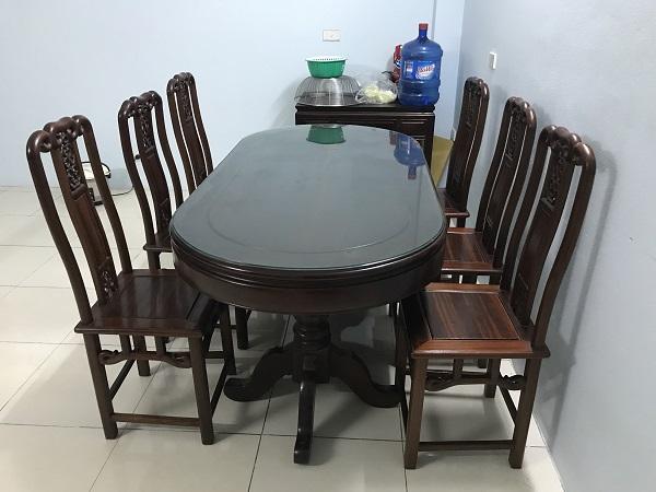 Bộ bàn ăn 6 ghế gỗ gụ ta hàng Mỹ Đức 1