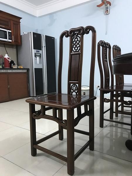 Bộ bàn ăn 6 ghế gỗ gụ ta hàng Mỹ Đức 3