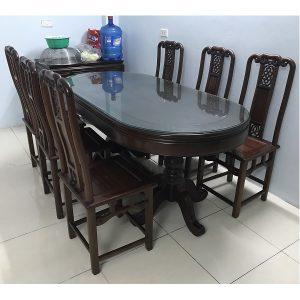 bộ bàn ăn 6 ghế gỗ gụ ta hàng mỹ đức