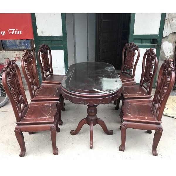 bộ bàn ghế ăn 6 ghế gỗ gụ