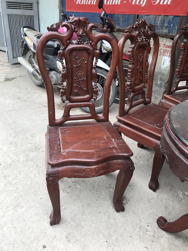 bộ bàn ghế ăn 6 ghế gỗ gụ 2