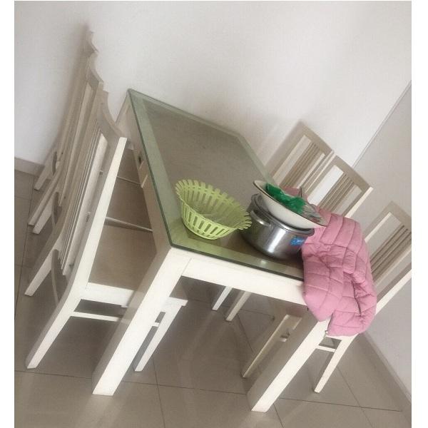 bộ bàn ghế ăn 6 ghế gỗ sồi sơn trắng