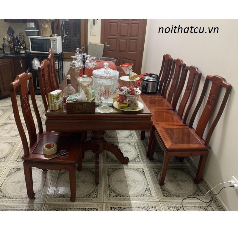 Bộ bàn ghế ăn 8 ghế gỗ hương đỏ ta