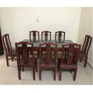 Bộ bàn ghế ăn gỗ hương đỏ 8 ghế