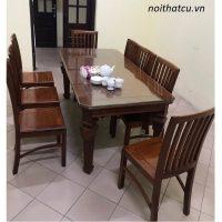 Bộ bàn ghế ăn gỗ hương đỏ xịn