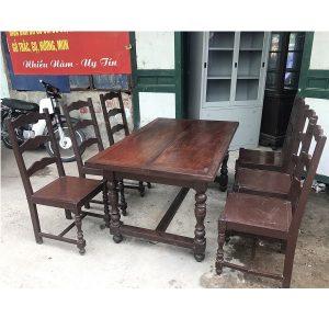 bộ bàn ghế ăn gỗ lim 6 ghế
