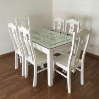 bộ bàn ghế ăn gỗ sồi nga 6 ghế