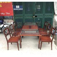 bộ bàn ghế ăn gỗ xoan đào 6 ghế thanh lý