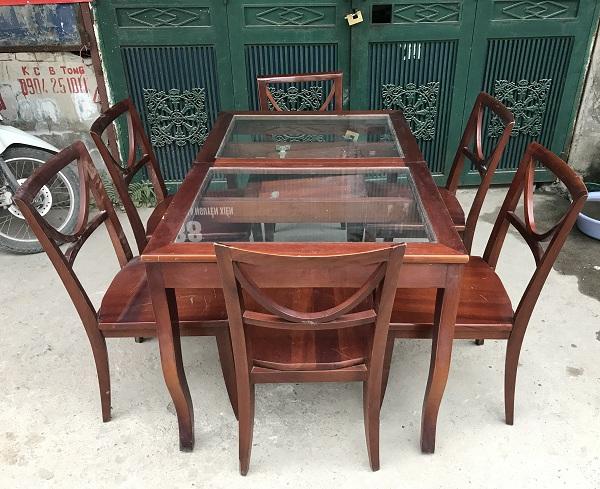 bộ bàn ghế ăn gỗ xoan đào 6 ghế thanh lý_1