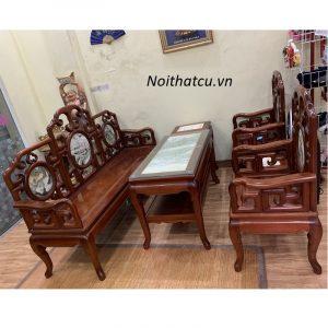 Bộ bàn ghế gỗ gụ móc mỏ 6 món