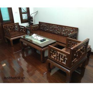 bộ bàn ghế gỗ hương lào chữ vạn