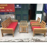 Bộ bàn ghế gỗ sồi nga kèm đệm mới 90%