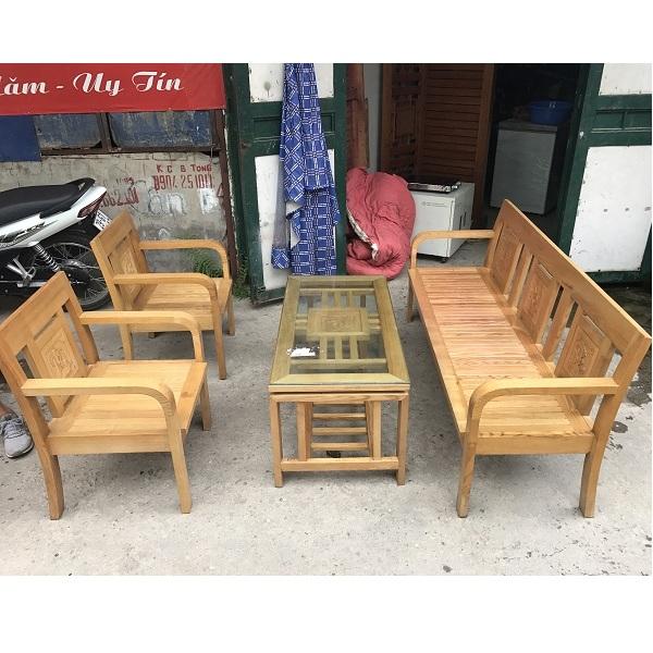 Bộ bàn ghế gỗ sồi nga mới 90%