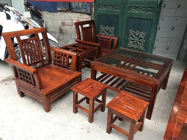 Bộ bàn ghế gỗ xoan thanh lý 1