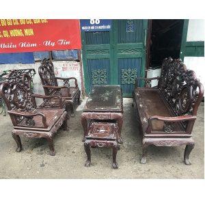 Bộ bàn ghế guột hoa lan tây gỗ gụ ta