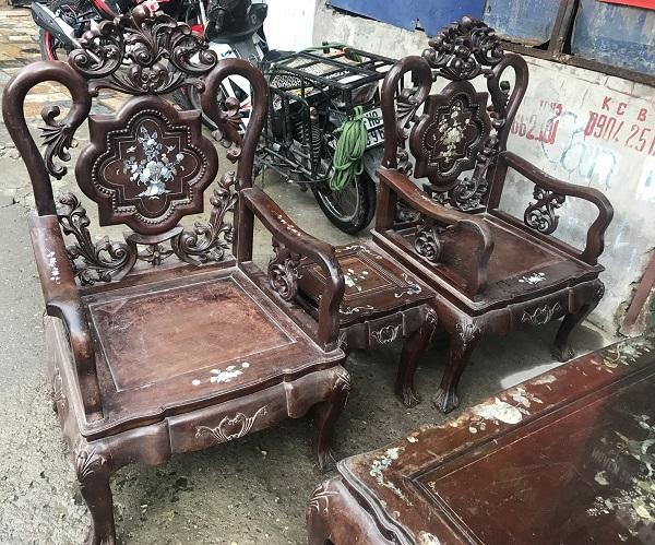 Bộ bàn ghế guột hoa lan tây gỗ gụ ta 1