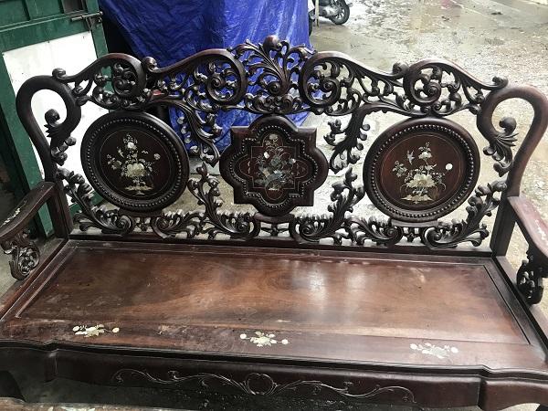 Bộ bàn ghế guột hoa lan tây gỗ gụ ta 3
