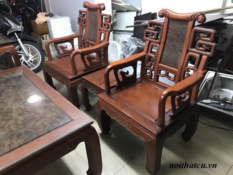 Bộ bàn ghế minh triện gỗ hương đỏ ta