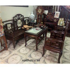 bộ bàn ghế móc mỏ 5 món gỗ gụ ta