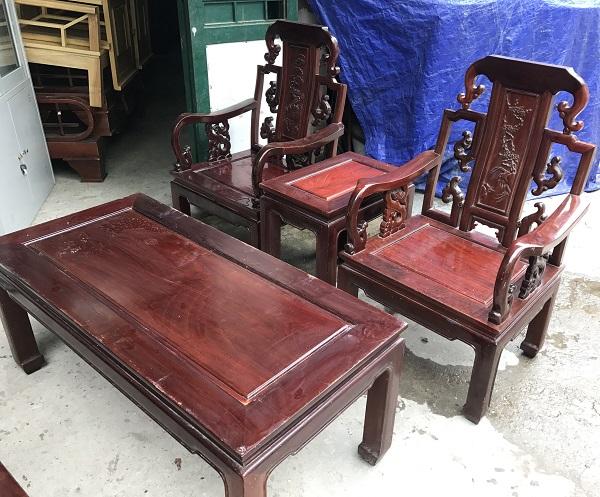 Bộ bàn ghế như ý gỗ gụ_1