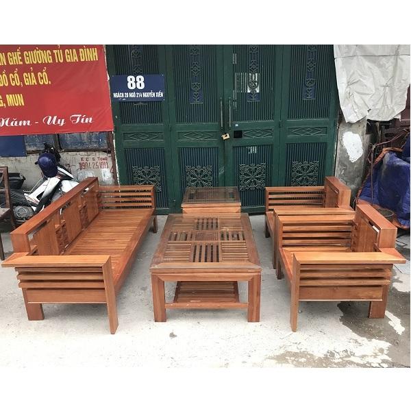 bộ bàn ghế phòng khách gỗ xoan đào