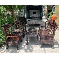 Bộ bàn ghế quốc đào cột 8 gỗ gụ ta