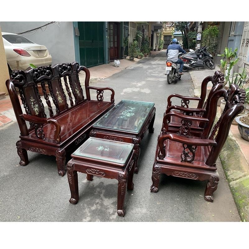 bộ bàn ghế quốc đào cột 8 gỗ gụ