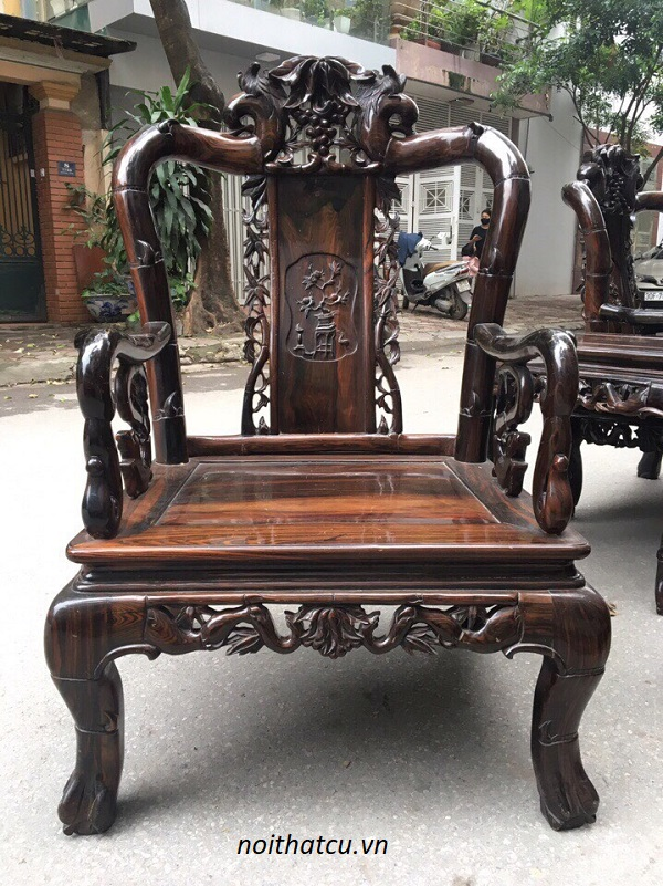 Bộ bàn ghế quốc trúc gỗ mun ta