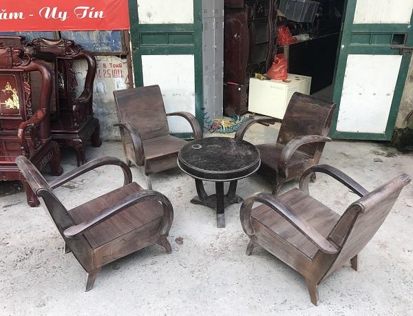 Bộ bàn ghế sa long thùng bao cấp gỗ gụ ta 3