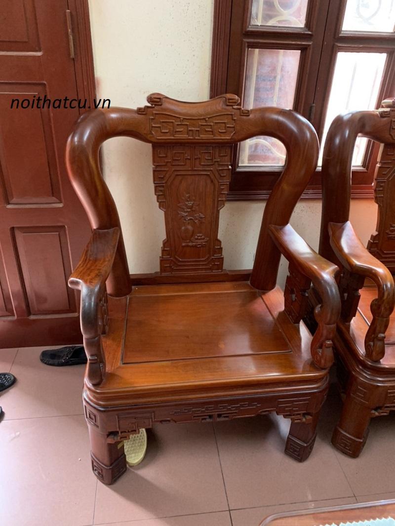 Bộ bàn ghế triện gỗ hương đỏ lào 6 món
