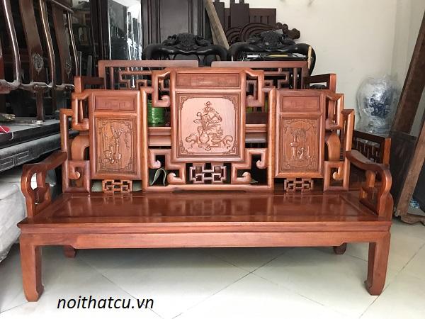 Bộ bàn ghế triện gỗ hương đỏ Lào