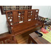 Bộ bàn ghế triện tàu gỗ hương đỏ ta 6 món