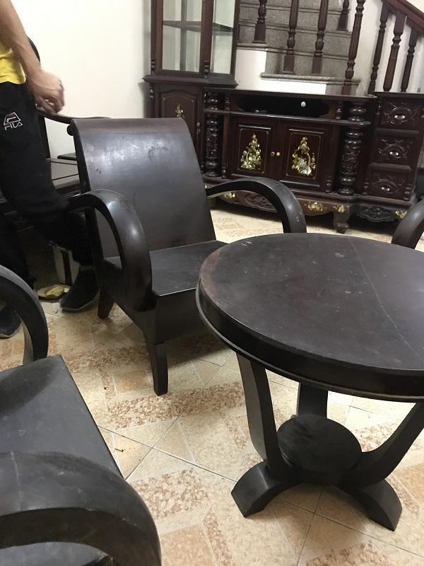 Bộ bàn ghế xa long thùng gỗ gõ thời bao cấp