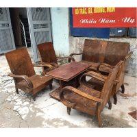 Bộ bàn ghế xa long thùng gỗ lát chun 6 món