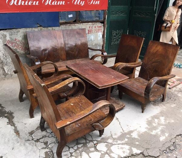 Bộ bàn ghế xa long thùng gỗ lát chun 6 món_1