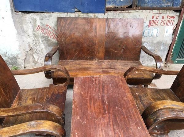 Bộ bàn ghế xa long thùng gỗ lát chun 6 món_3