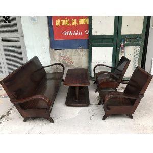 Bộ bàn ghế xalong thùng gỗ lim thời bao cấp
