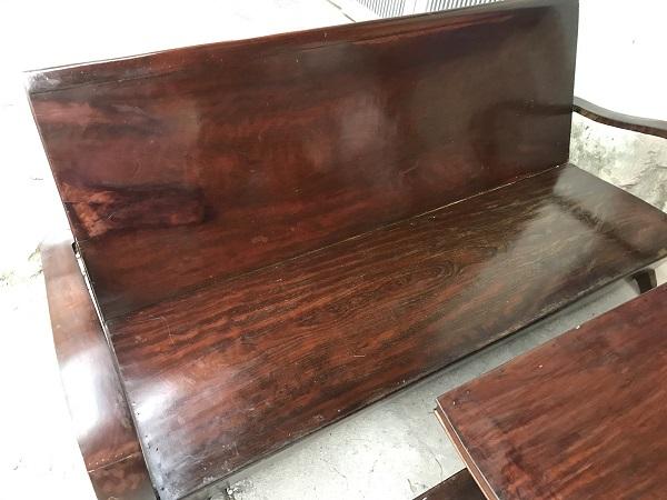 Bộ bàn ghế xalong thùng gỗ lim thời bao cấp _1