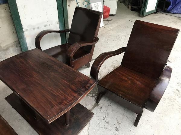Bộ bàn ghế xalong thùng gỗ lim thời bao cấp _2