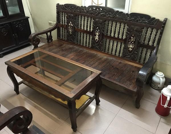 Bộ xalong tay quận gỗ lim Thanh Hoá thanh lý