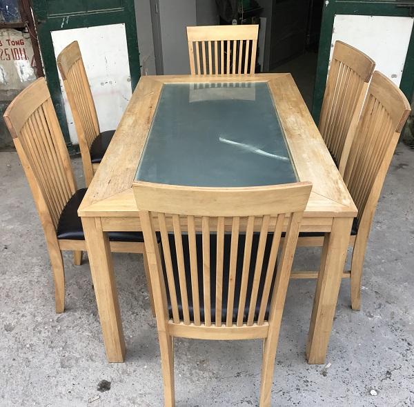 thanh lý bộ bàn ăn 6 ghế gỗ cao su