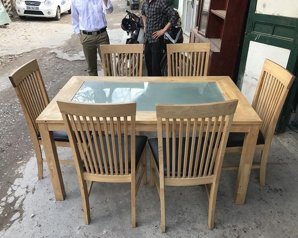 thanh lý bộ bàn ăn 6 ghế gỗ cao su _ 1