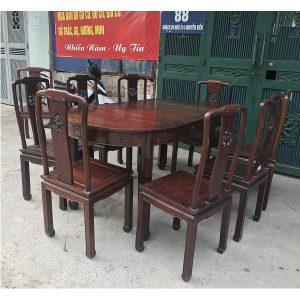 thanh lý bộ bàn ghế ăn 8 ghế gỗ gụ ta