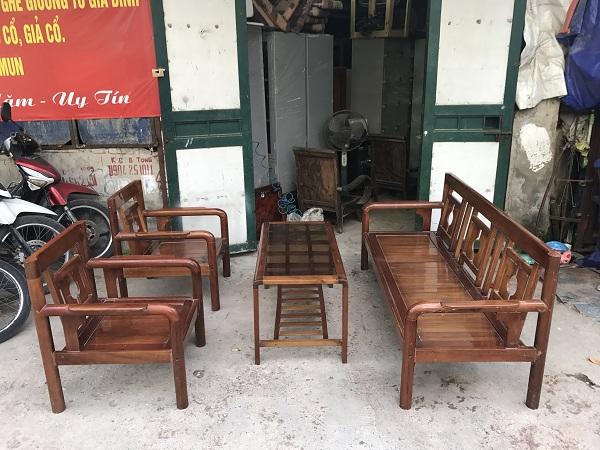 thanh lý bộ bàn ghế gỗ xoan đào kèm đệm 5
