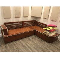 thanh lý bộ sofa góc gỗ xoan đào