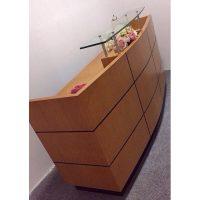 thanh lý quầy lễ tân gỗ veneer kt 180x90x65cm