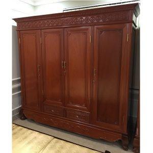 thanh lý tủ quần áo 4 bồng gỗ gõ đỏ