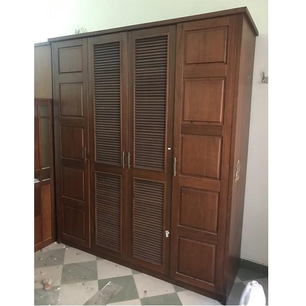 thanh lý Tủ quần áo gỗ xoan đào 4 cánh kích thước 190x210x60cm